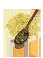 Kürbiskernmehl Darstellung mit Kürbiskernen auf einem Holzlöffel