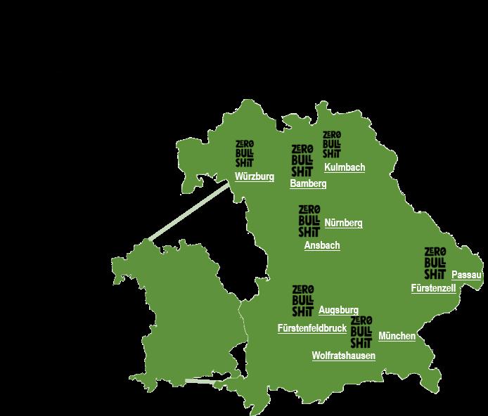 Landkarte, die zeig, an welchen Orten in Bayern der Retter Kräcker der Zero Bullshit Company bei REWE Süd Märkten erhältlich ist